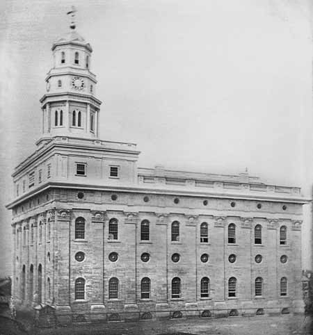The Nauvoo Temple before its burning in 1848.