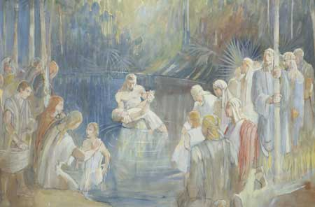 Alma baptizing by immersion at the Waters of Mormon.