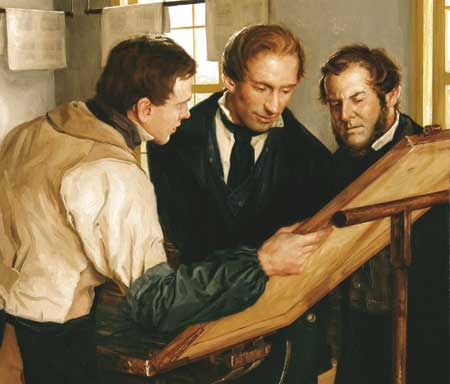 Joseph Smith inspects the first printer's proof of the Book of Mormon.