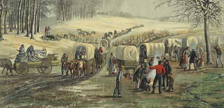 The Mormons were forced to flee Missouri in the winter of 1838-1839.