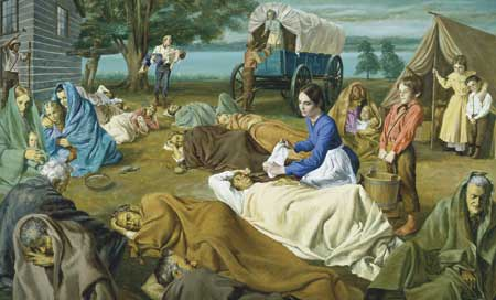 Joseph and Emma Smith caring for the sick at their Nauvoo home.