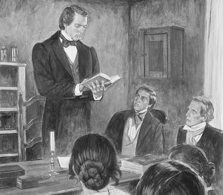 The Saints often gathered to hear the Prophet Joseph Smith speak.