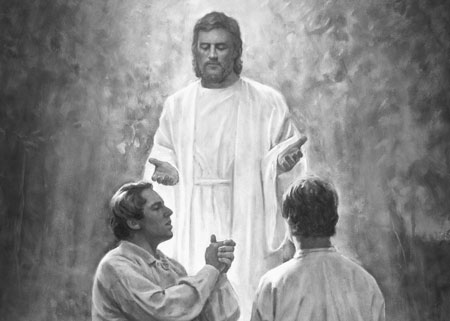 John the Baptist restoring the Aaronic Priesthood to Joseph Smith and Oliver Cowdery.