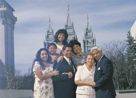 Three generation family at the Salt Lake Temple