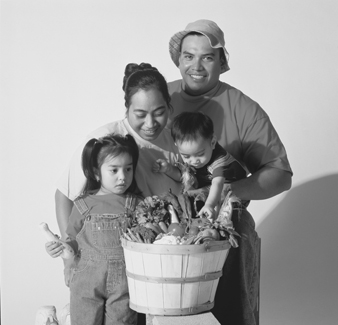 Family with food basket