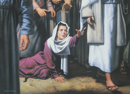 woman reaching out for christ