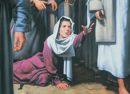 woman reaching after Christ