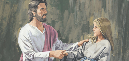 Jesus takes girl by hand and she arises