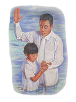 A boy being baptised