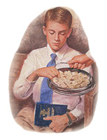 A boy taking the sacrament bread