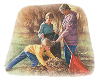 Service to others by picking up leaves.