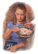 A girl taking the sacrament bread