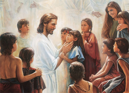 Jesus with Nephite children