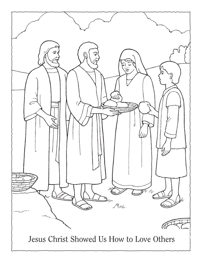 Coloring Page Sharing Basket Of Food