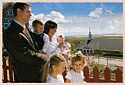 family walking to church