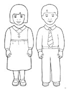coloring page, boy and girl puppets