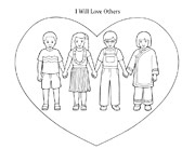 coloring page, children in heart
