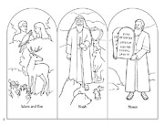 coloring page, Adam and Eve, Noah, Moses