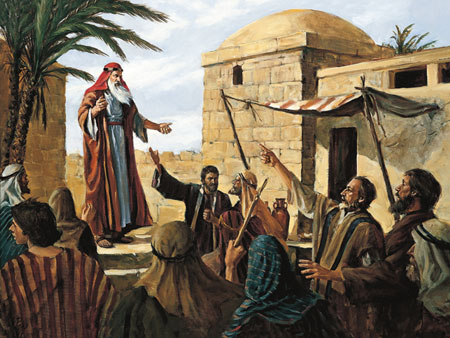 Lehi Prophecying to the People of Jerusalem