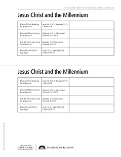 handout, Jesus Christ and the Millennium