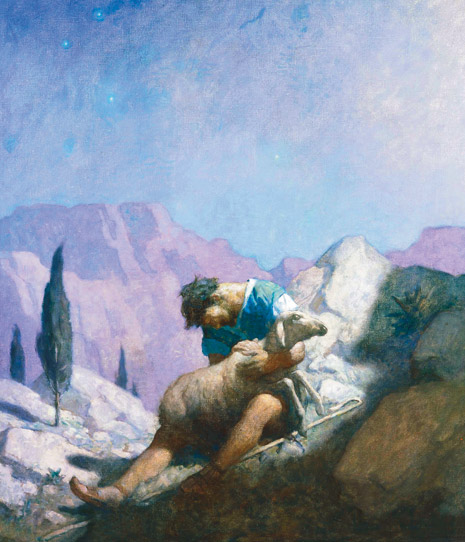 shepherd holding sheep in wilderness
