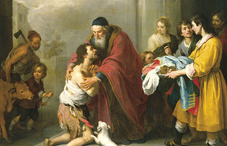The prodigal son - a parable of Jesus about a son who requested his inheritance, left home and squandered it all, and returned home only to be greated with love, joy and forgiveness by the father he had rejected