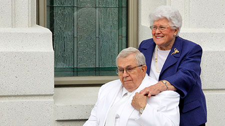 President and Sister Packer at Brigham City Utah Temple