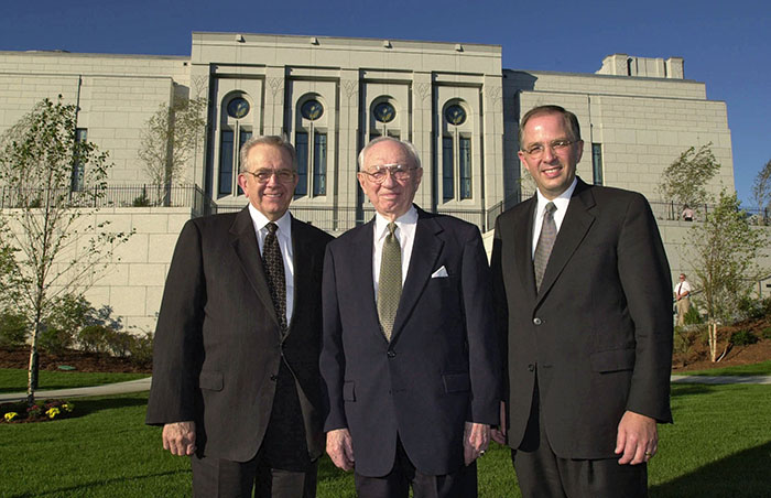Gordon B. Hinckley and others at Boston Massachusetts Temple