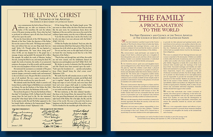 """The Living Christ"" and the family proclamation"