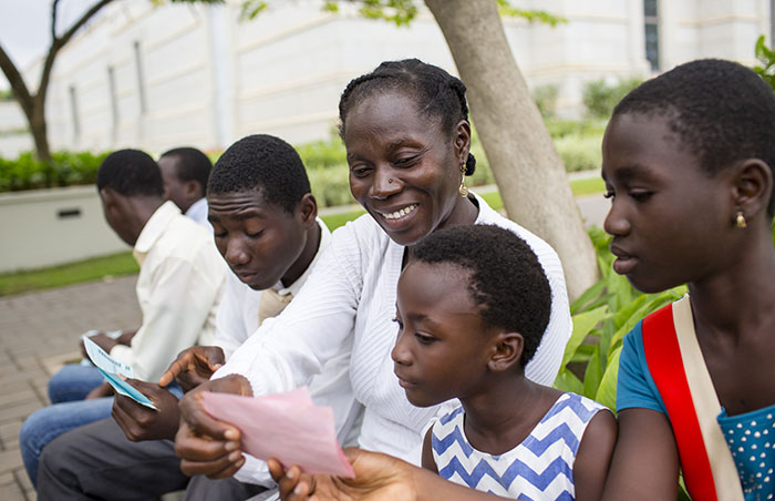 Family outside the Accra Ghana Temple