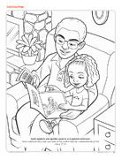father and girl reading conference magazine