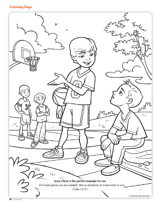 Boy inviting another to play basketball