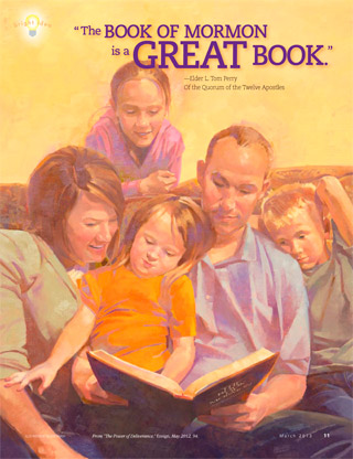 family reading the Book of Mormon