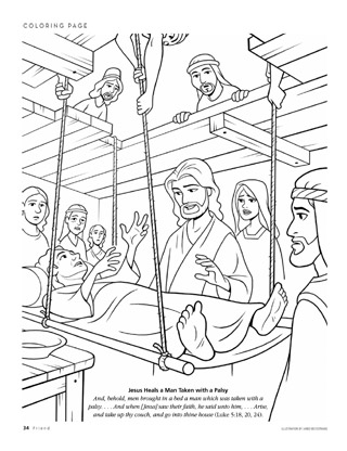 jesus heals paralyzed man coloring page lame man healed coloring page coloring pages