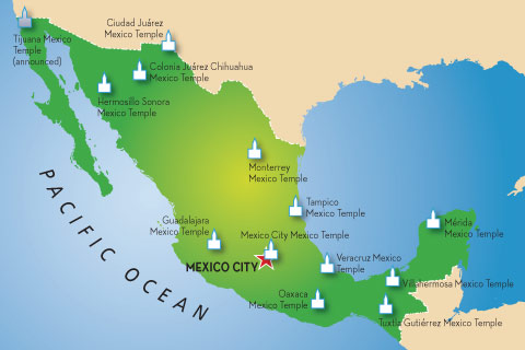map of Mexico with temples