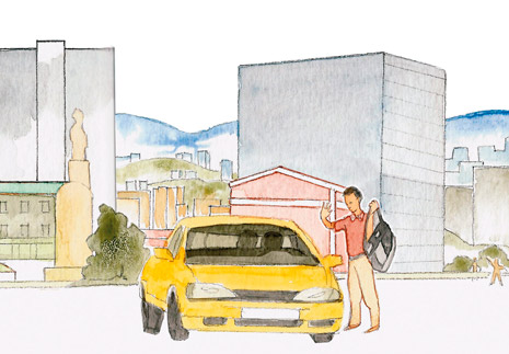 yellow car and man