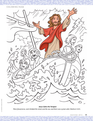 Jesus on boat with disciples