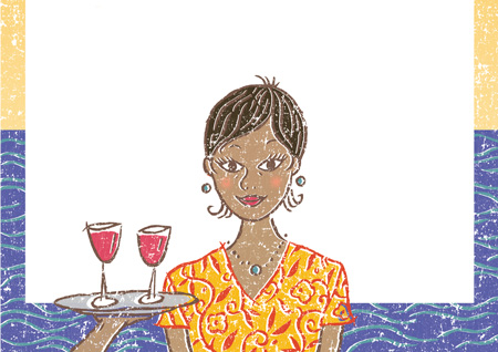 young woman being offered drinks