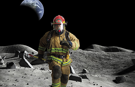 firefighter on the moon