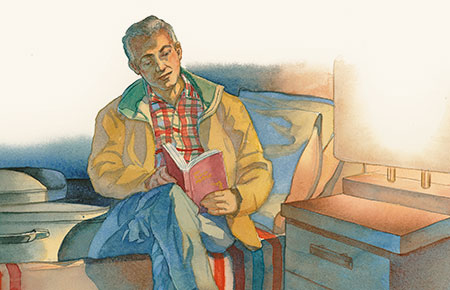 illustration of man reading a book at his bed