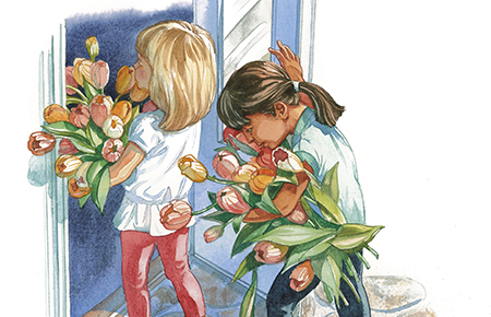 illustration with young girls holding flowers