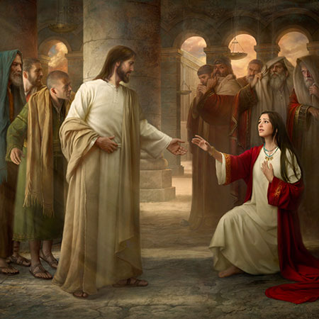 Savior with the woman taken in adultery