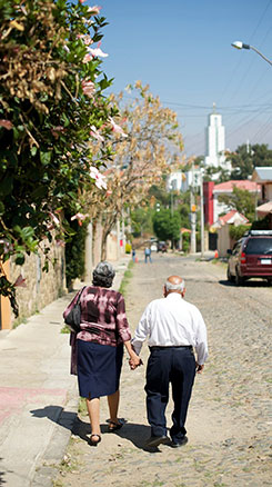 couple walking toward the temple