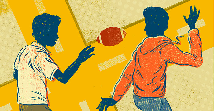 Illustration of young men playing football