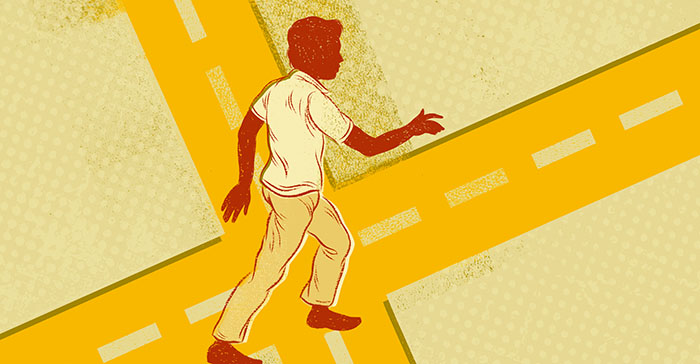 Illustration of young man at a crossroads