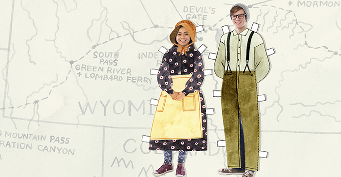 teens wearing paper doll pioneer clothes