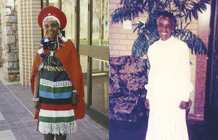 Julia in native Zulu dress and in temple dress