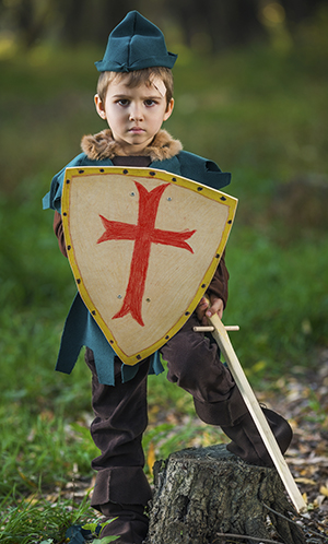 little boy with armor