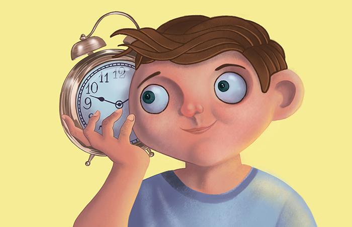 boy with a clock