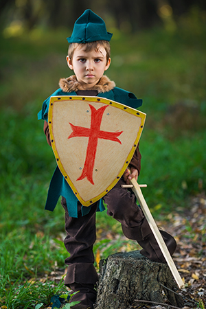 little boy with shield and sword